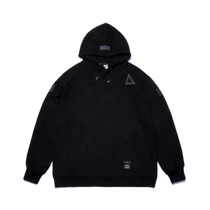 STGM PATCH OVERSIZED HEAVY SWEAT HOODIE BLACK