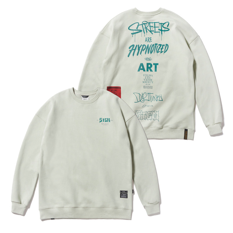 TYPO OVERSIZED HEAVY SWEAT CREWNECK BEIGE